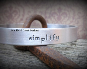 Elegant Aluminum, Silver Cuff Bracelet, Personalized, Hand Stamped, Handmade