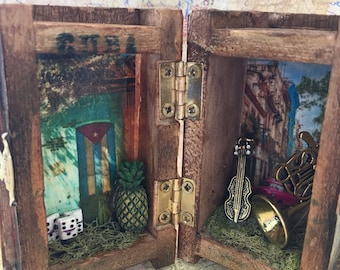 Vintage Bohemian Box, Island Nostalgic Box Collage, 3D Antique Assemblage Box, Vintage Look Small Box, Handmade Dominoes, Musical Instrument