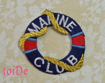 MARINE CLUB Nautical marine float Iron On Patch Applique  - Gold, White, Red and Navy Blue - Embroidered