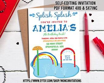Splish Splash Invitation, Splish Splash Birthday Invitation, Splash Party Invitations, Splash Party, Splash Pad Party, Splash Park Party
