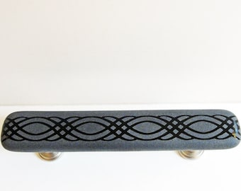 Unique Fused Glass Pull Cabinet Pulls, Gray and Black Dresser Drawer Pulls, Closet or Pantry Door Handles, Furniture Pulls, Hutch Pulls