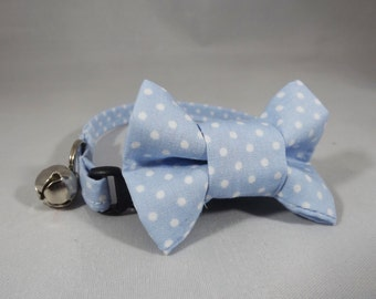 Baby Blue Cat Collar, Breakaway Cat Collar, Kitten Collar, Polka Dot Cat Collar, Gender Reveal cat collar, flower or Bow tie included,
