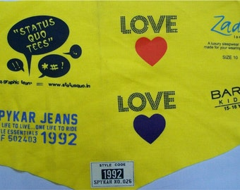 250 Iron On Clothing Labels -OPAQUE TAGLESS Transfer Labels - Sewing Tags - For Any Color Fabric - One Color Imprint