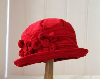 Red Homegrown daisy flower cloche hat