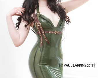 Latex clothing Olena dress in Olive Green Khaki and translucent olive Lingerie