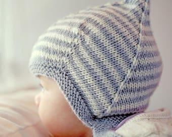 Pixie Hat Knitting Pattern, Baby Knit PDF, Baby Hat Knitting Pattern, PDF Pattern Easy Baby Pattern, Vintage Style Baby Hat Pattern, LOGAN