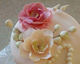 Wild Rose Gumpaste Flowers for Communions Weddings Celebration Cakes Any Color