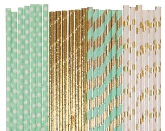 Paper Straw Mix, Mint Green Gold Foil Polka Dot Striped Solid Paper Straws, Bling Bridal Shower Brunch Glam Baby Shower Decor Wedding Straws