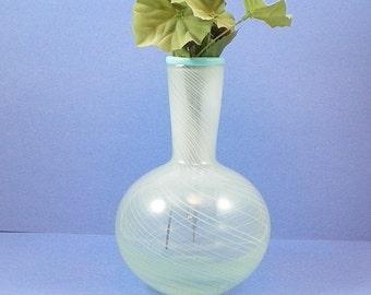 Vintage Vase Turquoise Art Glass,Threaded Glass Bud Vase