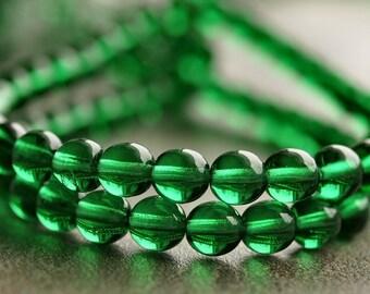 Emerald Green Czech Glass Bead 6mm Round Druk : LAST 50 pc