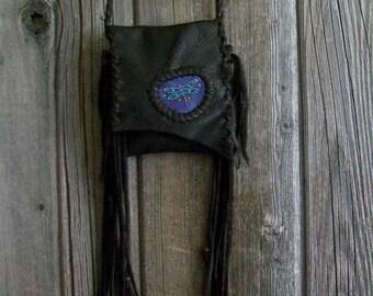 Fringed leather handbag , Dragonfly totem bag , Dragonfly Medicine bag , Purple dragonfly bag