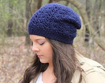 Slouchy Hat, Slouchy Beanie, Blue Crochet Hat, Crochet Beanie, Blue Beanie, Navy Blue Hat, Blue Slouchy Hat, Blue Slouch Hat