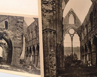 ON SALE Tintern Abbey United Kingdom UK -- 2 Old Vintage Postcards Black and White Souvenir -- Unused Church Religious