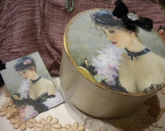 """Shabby Chic Paper Mache Decorative Box """"Make Up"""" with matching Tag."""