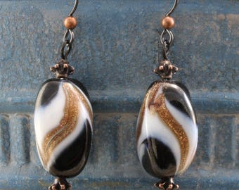 Handmade Dangle Earrings With Murano Glass and Black Niobium Hooks
