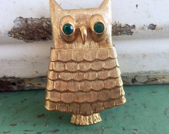 Vintage Avon Owl Brooch Perfume Poison Locket Green Glass Eyes Original Box