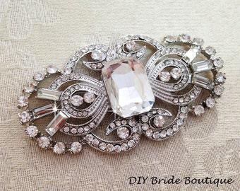 Art Deco Rhinestone Brooch Crystal Brooch, Wedding Brooch, Bridal Sash Pin, Rhinestone Broach