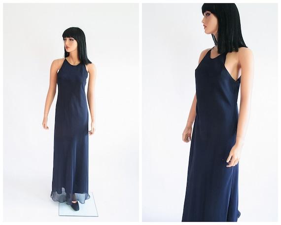 90s Maxi Dress 1990s Evening Gown Formal Prom Minimalist Bias