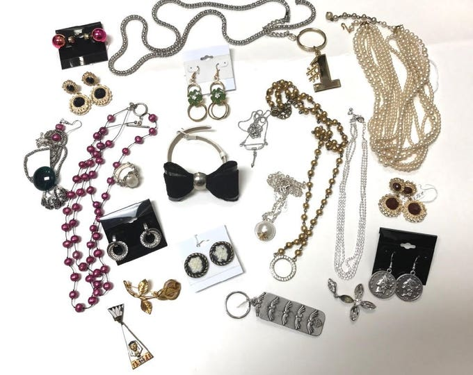 Bits and Pieces of Costume Jewelry, Broken and Ready to Wear Costume Jewelry, Earrings, Pins, Necklaces, Recycle Jewelry, Up Cycle Jewelry