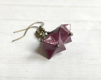 Origami Bell Earrings // Deep Purple Shimmer