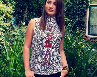 Vegan Top, Vegan Shirt, Vegan Clothing, Upcycled Top, Upcycled Shirt, Sustainable Clothing, Eco Friendly Top, Upcycled Clothing