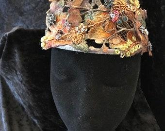 Tiara Garden Goddess, Game of Thrones, Designer made, Vintage trims, Fairy, Costume Ball (FFs5192)