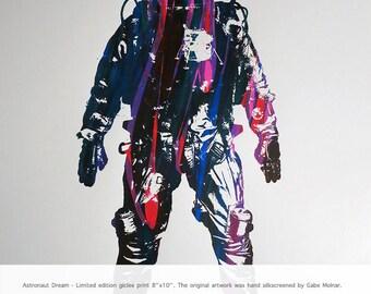astronaut art print, astronaut print, giclee print, art print, silkscreen, screenprint, multicolor, 8x10