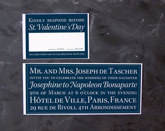 Napoleon and Josephine- Ombre or Solid Classic Typographic Invitations and RSVPs