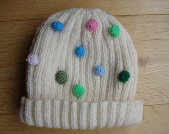 Hand Knitted Cream Hats With Multi Coloured Knitted Bobbles Two Sizes