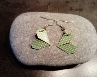 "Origami ""hearts"" green dot earrings"