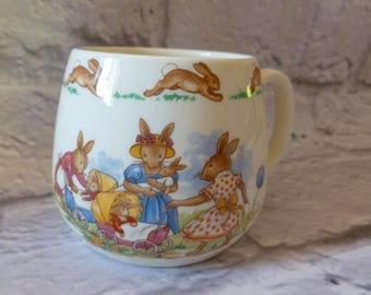 Vintage Royal Doulton Bunnykins Rabbit Mug with Handle 1968 1975 Backstamp, Rabbits with Babies in Prams, Vintage Collectible, Baby Nursery