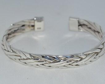 Mens Silver Weave cuff bracelet