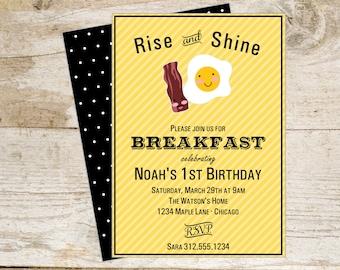 Breakfast Printable Invite Bacon and Eggs Brunch