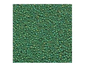Miyuki Seed Beads 11/0 Matte Opaque Green AB 11-411FR 24g, Round Seed Beads, Glass Seed Beads, Size 11 Seed Beads, Japanese Seed Beads