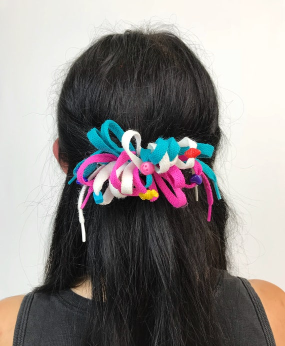 90's Colorful Cute Shoestring French Clip - Vintage Handmade Girly Bow Clip With Beads - Pink Green White Rainbow Fun Kawaii Girly Hairbow