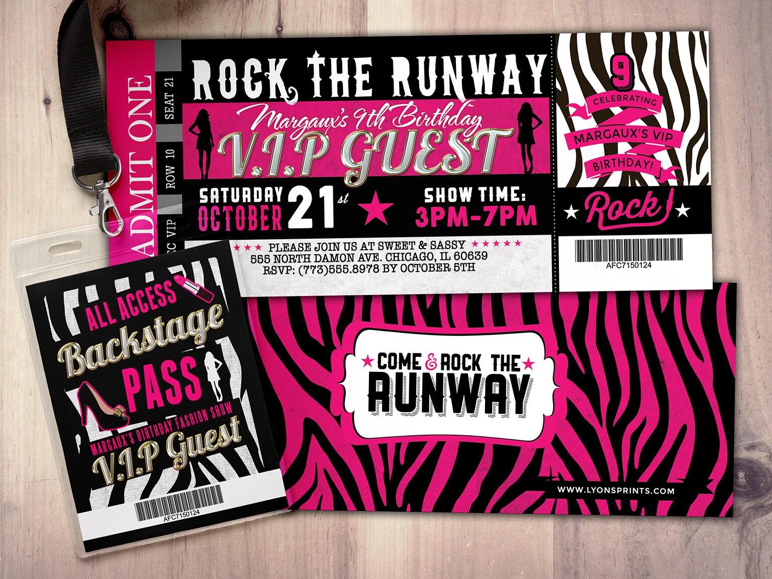 Rock the Runway, ticket birthday party invitation- popstar ...