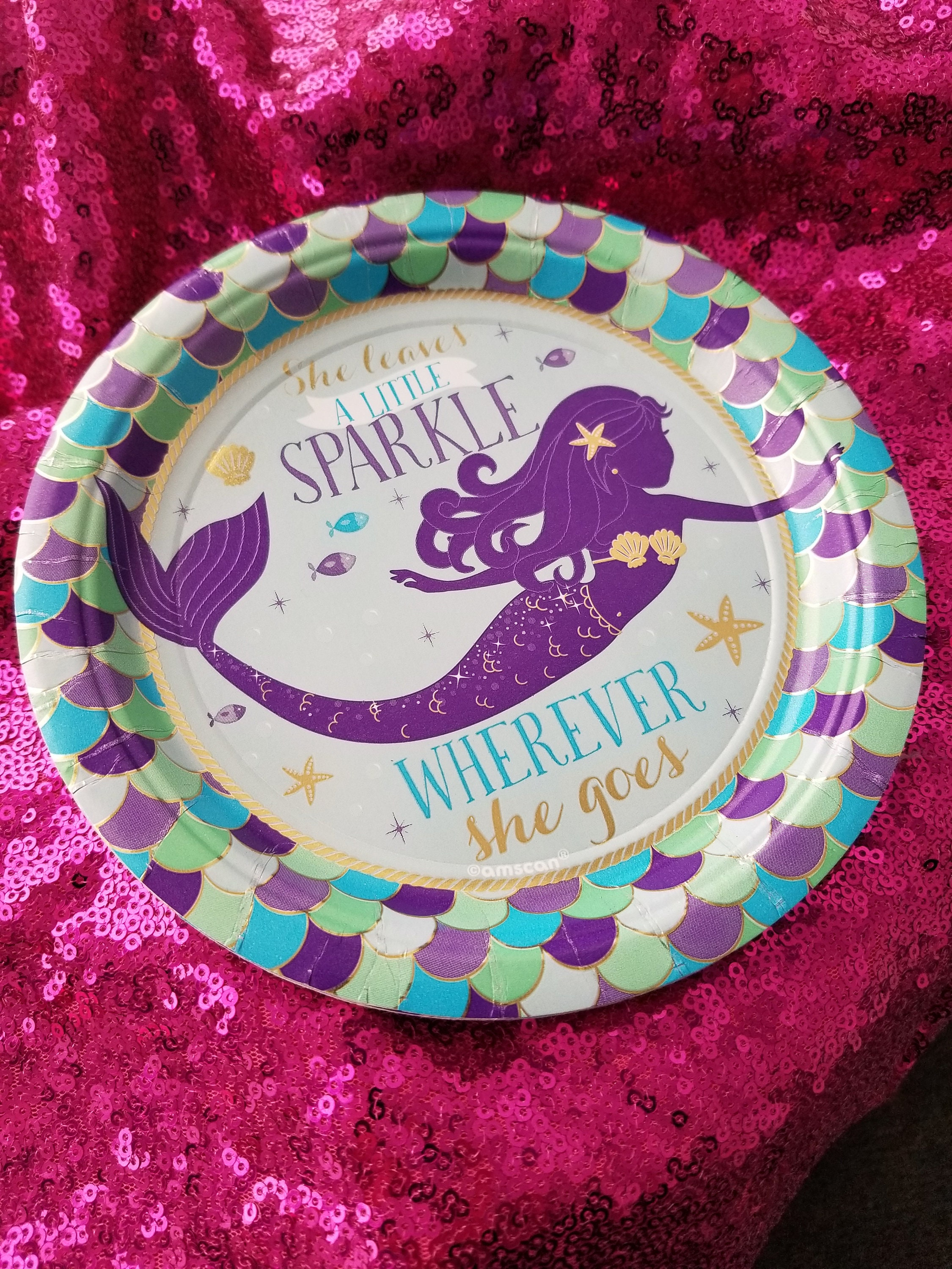 $3.99 & Sale 8ct MERMAID PAPER PLATES Mermaids Scale Sparkle Birthday Party ...