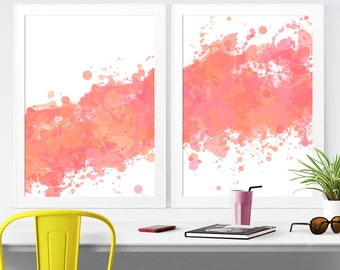 Coral Abstract Art, Abstract Wall Art, Modern Wall Decor, Coral Modern Art, Peach Wall Decor, Pink Coral Bedroom Art, INSTANT DOWNLOAD