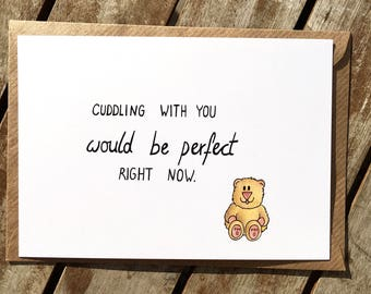Funny love card - long distance relationship - i miss you - ldr - gift for boyfriend - Cuddling with you  -i love you -husband