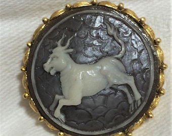 Vintage Quality Taurus the Bull Cameo Brooch with Gray Taupe Background and Off White Bull. It Measures Just Over an Inch in Diameter. (D31)