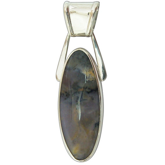 Amethyst Sage Agate and Sterling Silver Pendant, pamsf2341