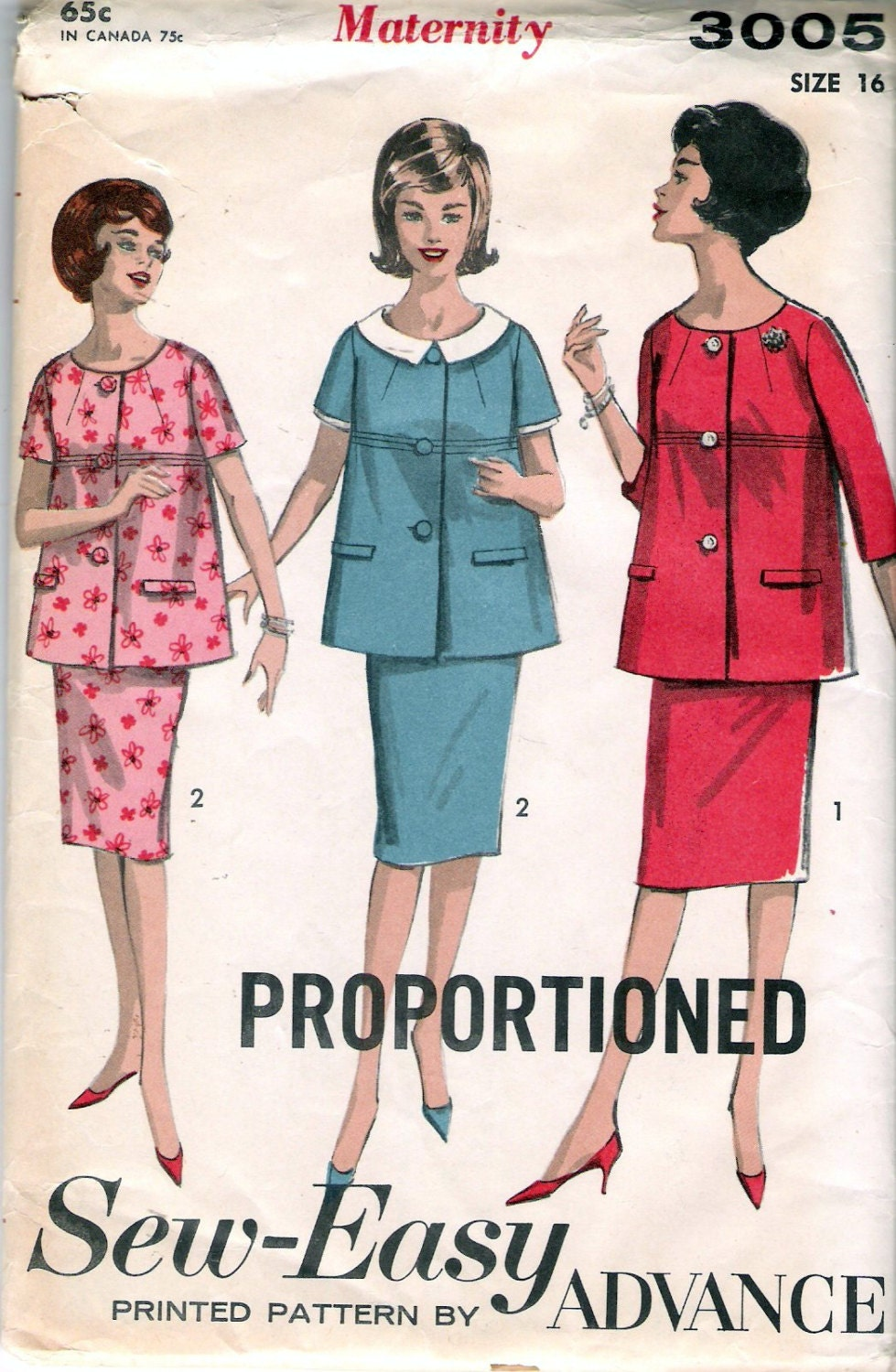 Vintage 1963 Advance 3005 Two Piece Maternity Dress Sewing