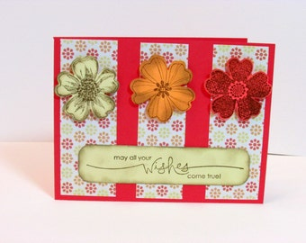 """Distressed Flower """"Happy Wishes"""" birthday or Well Wishes Card"""