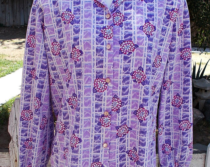 Vintage 70s MOD Preppy Graff Californiawear Purple Pink Striped Floral Womens Long Sleeve Blouse