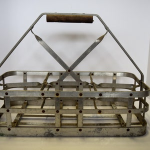 Antique Metal Milk Bottle Carrier