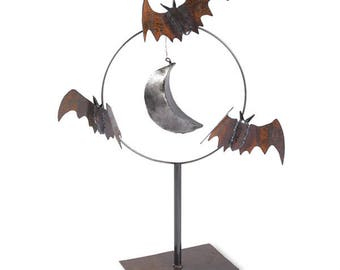 Bat Sculpture Metal Garden Art