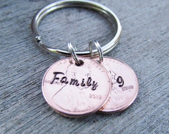 2 Penny Key Chain Hand Stamped Jewelry Double Charm Custom Name Lucky Personalized For You Names Dates 1950 to 2018 Pennies Family Gift