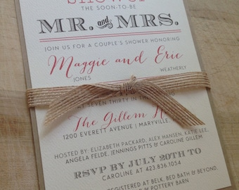 Couple's Wedding Shower Invitation // Vintage and Burlap // Purchase this Listing to Get Started