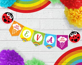 Personalised Childrens RAINBOW Rain CLOUD LADYBIRD Birthday Party Banner Stationary