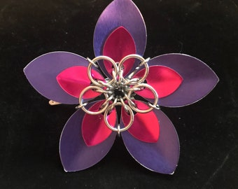 Purple/Pink/Silver Scalemaille Flower Hair Clip